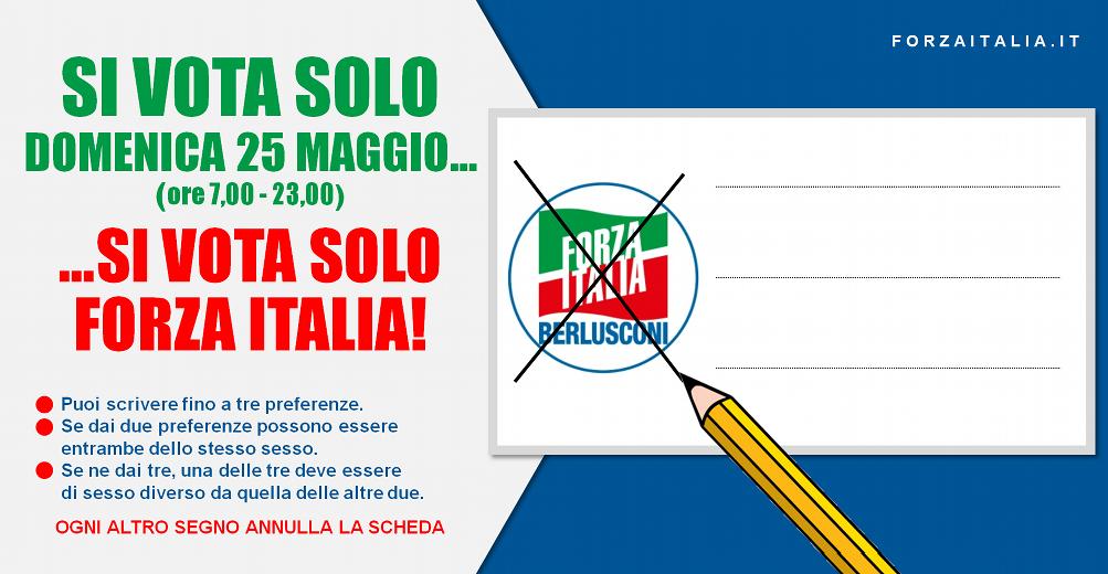 si vota solo domenica 25 maggio...si vota solo Forza Italia