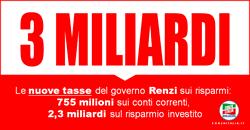 Le nuove tasse del governo Renzi sui risparmi: 755 milioni sui conti correnti, 2,3 miliardi sul risparmio investito