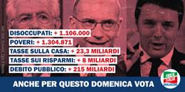 Renzi: disoccupati, poveri, tasse sulla casa, tasse sui risparmi, debito pubblico